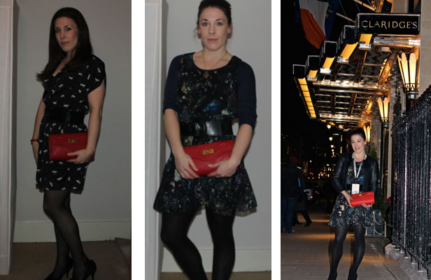 LadyM with the Severina Clutch on Valentines Day & at London Fashion Week
