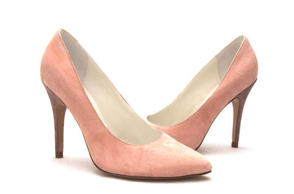 Shoe-Escarpin-bout-pointu-velours-vieux-rose,-taupe