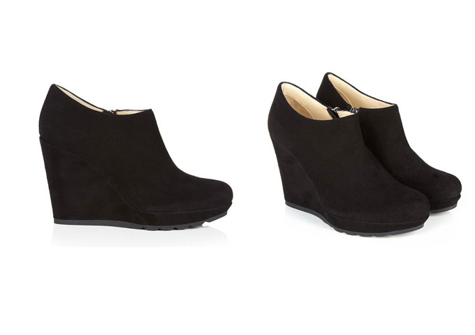 Black Suede Ankle Wedge Boots - Yu Boots